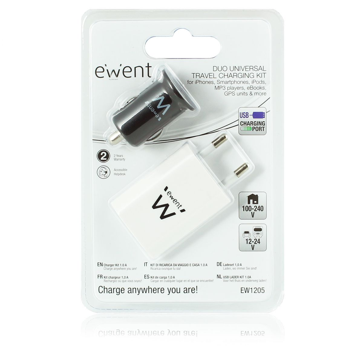 ewent ew1205 carhome charger 2x usb mobile devices