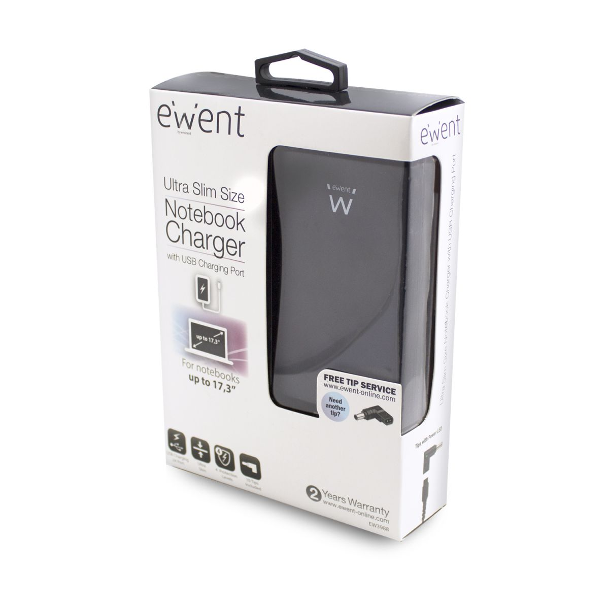 ewent ew3988 universele notebook adapter usb charger 90w